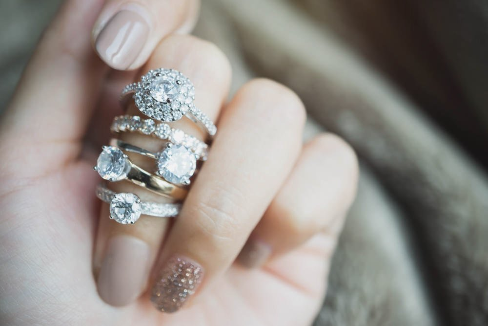 Woman wearing rings on finger