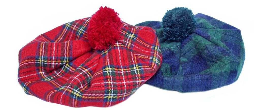 These are traditional Scottish tam caps in red and green patterns.