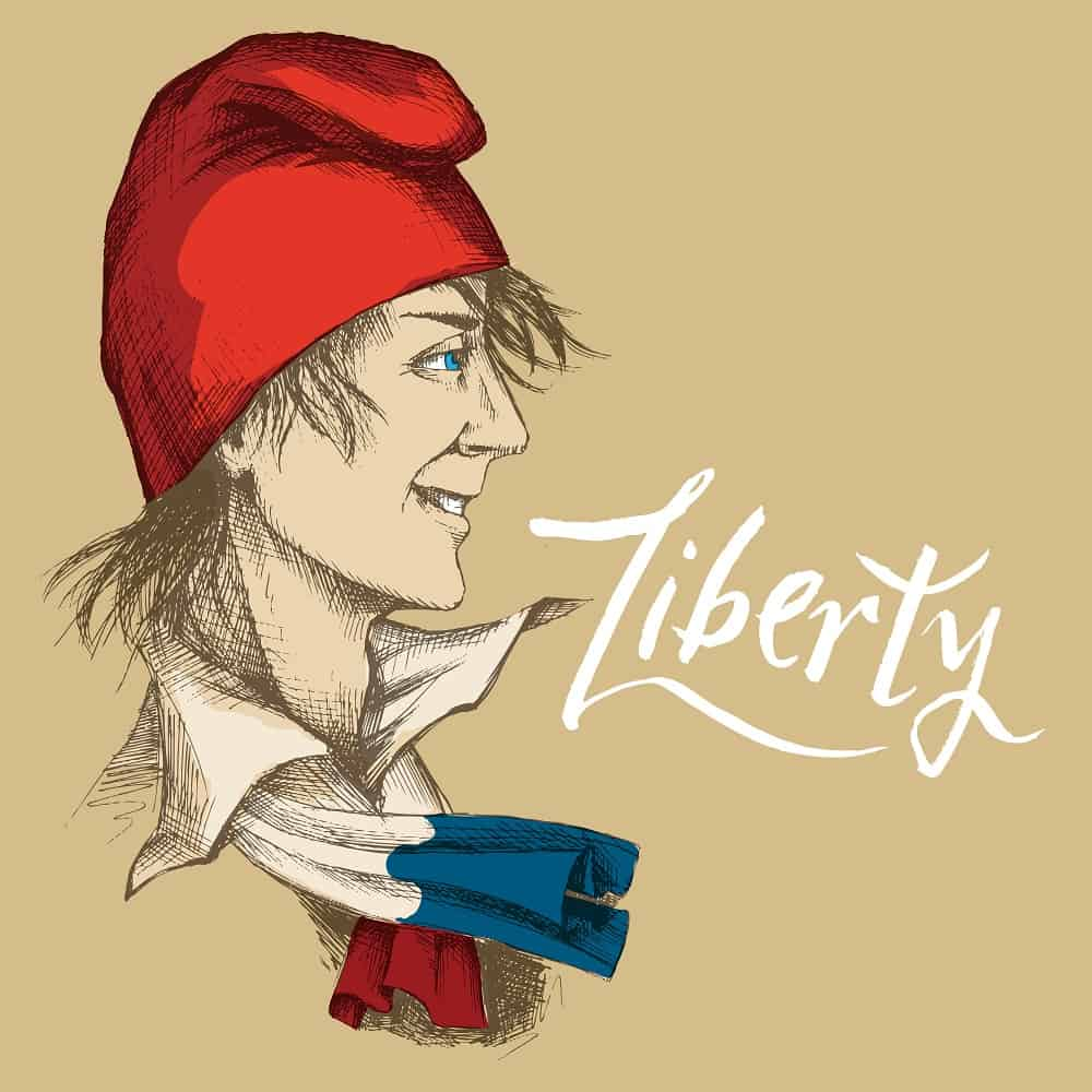 This is a hand-drawn young Frenchman in a red Phrygian cap.