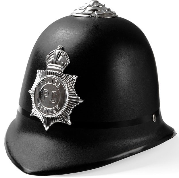 This is a black police custodian hat with a badge in the middle.