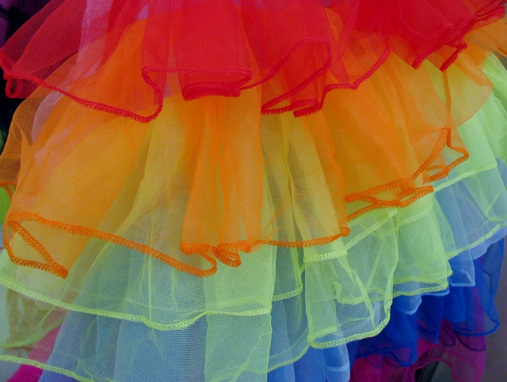 This is a colorful multi-layered tutu tulle skirt.