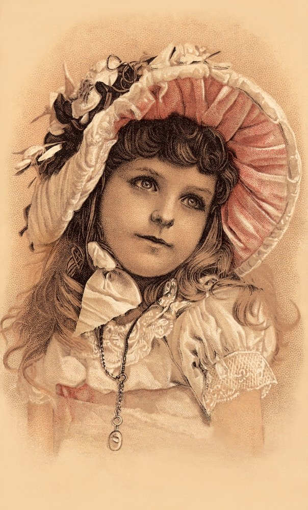This is a vintage Victorian illustration of a girl wearing a dress and a bonnet hat.
