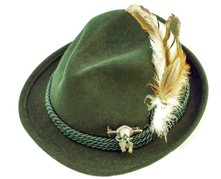 This is a green deluxe Bavarian wool Alpine Hat with green bands and a feather.