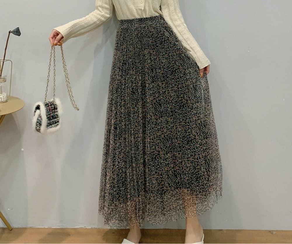 This is the retro leopard-print mesh skirt Autumn Winter women, Boho Maxi Skirt from Etsy.