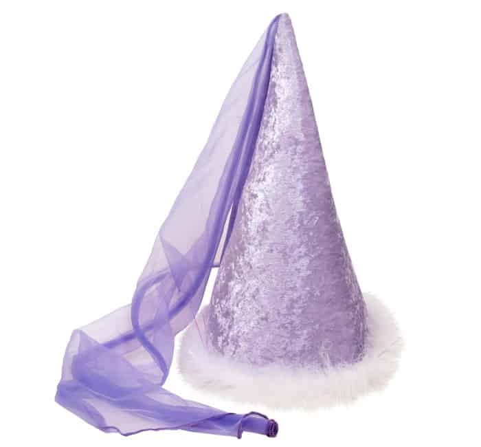 This is a purple glittery princess conical hat.