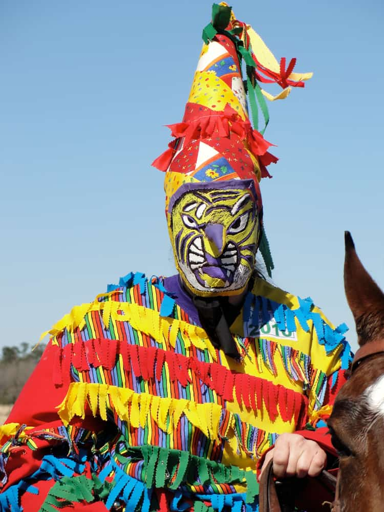 This is a cajun mardi gras rider wearing a colorful costume and a capuchon.