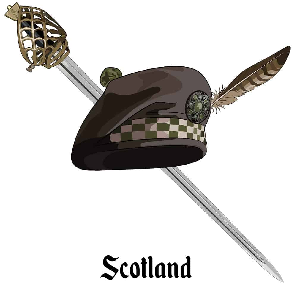 This is an illustration of a Scottish balmoral bonnet and Scottish Highland backsword.