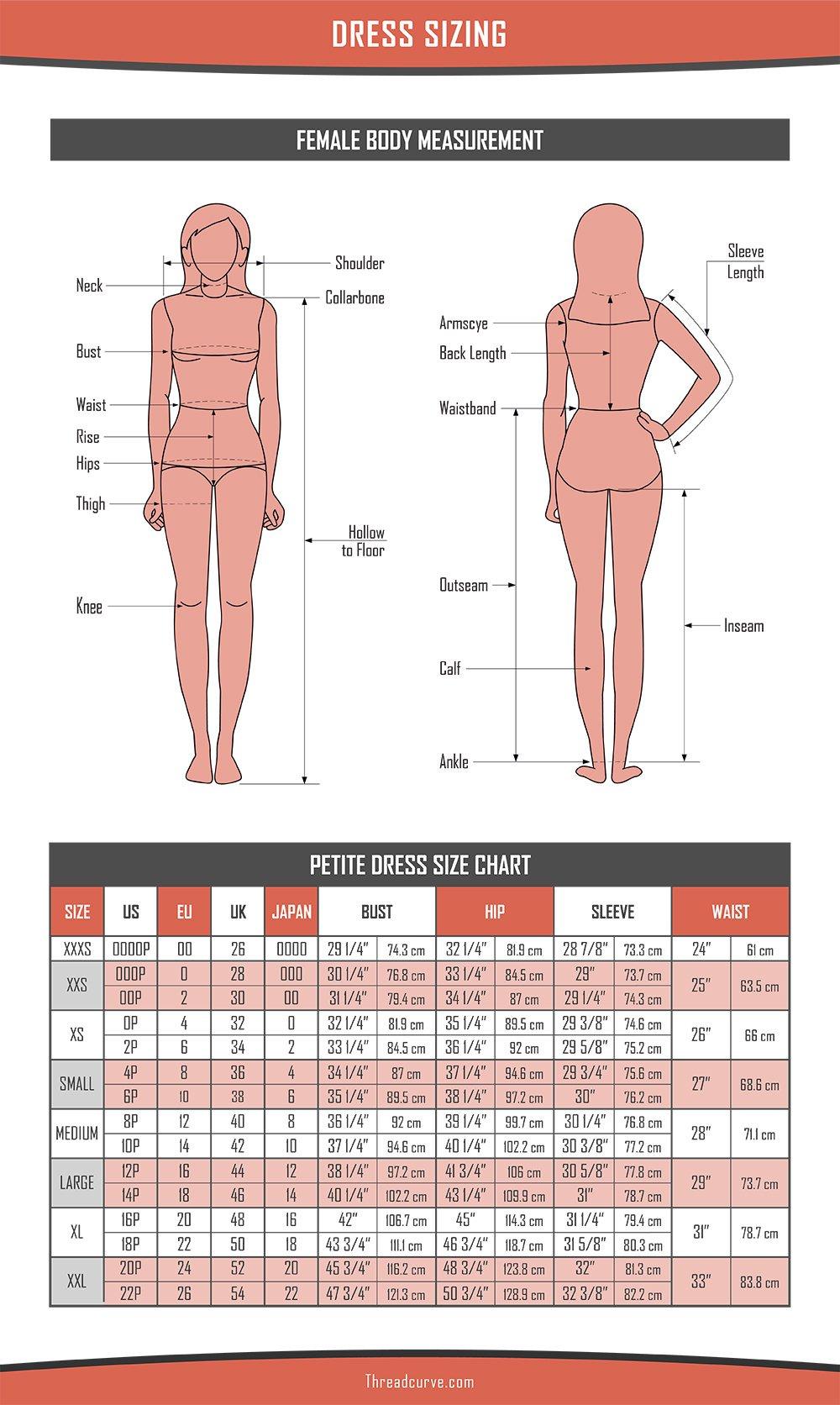 Dress Size Chart, Petite