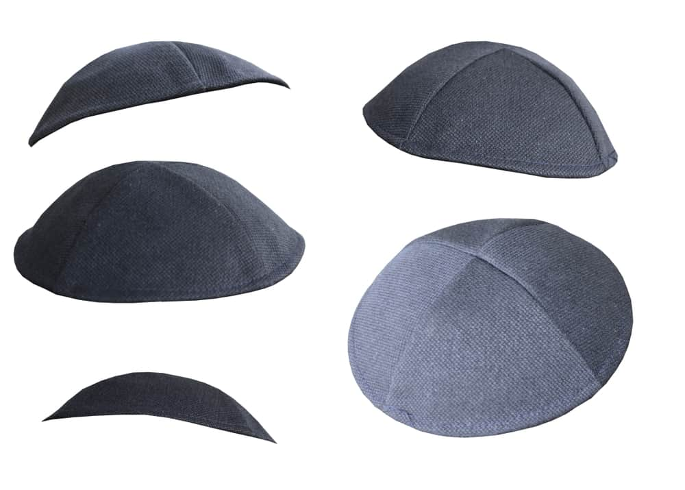Sure kippah in various sizes isolated on a white background.
