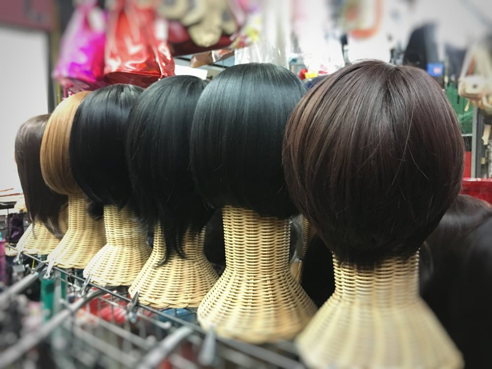 Wigs for sale in a wig store