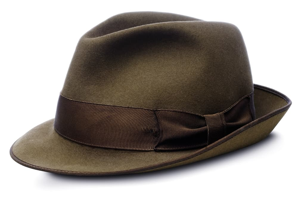 This is a dark brown homburg hat with a dark brown ribbon band.
