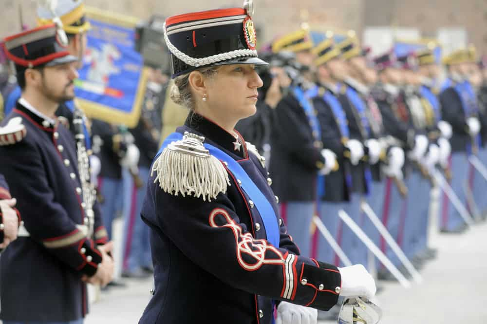 These are cadets in a ceremony of a military school in Italy wearing kepi hats.