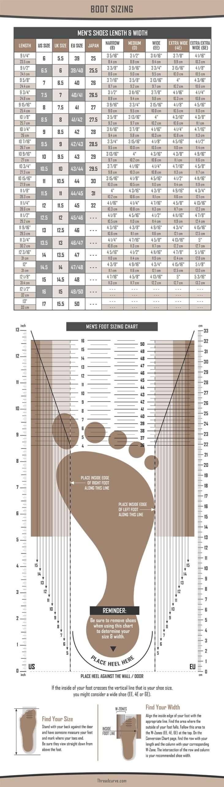 Men's boot size chart with measuring guide
