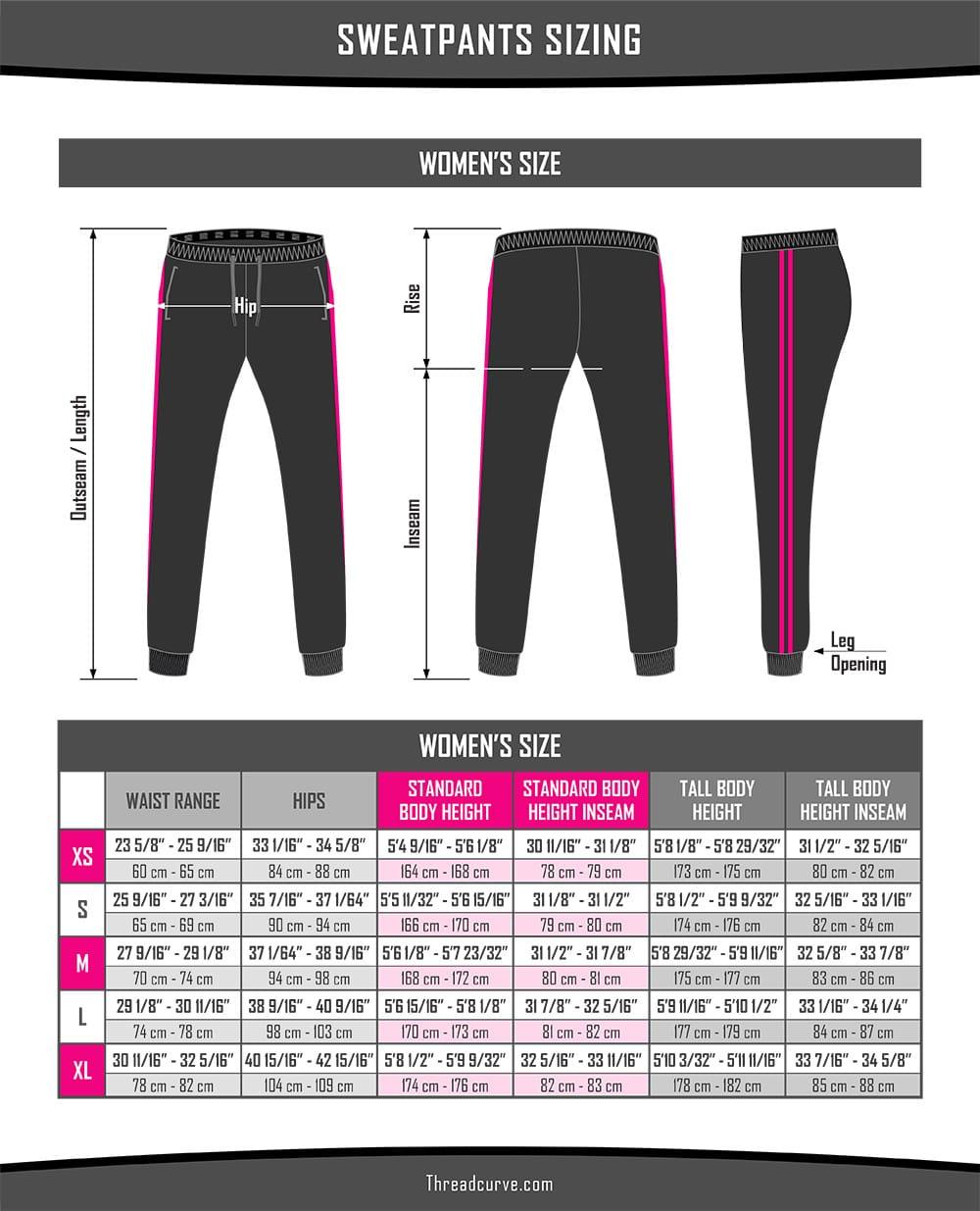 Women's Sweatpants Size Chart