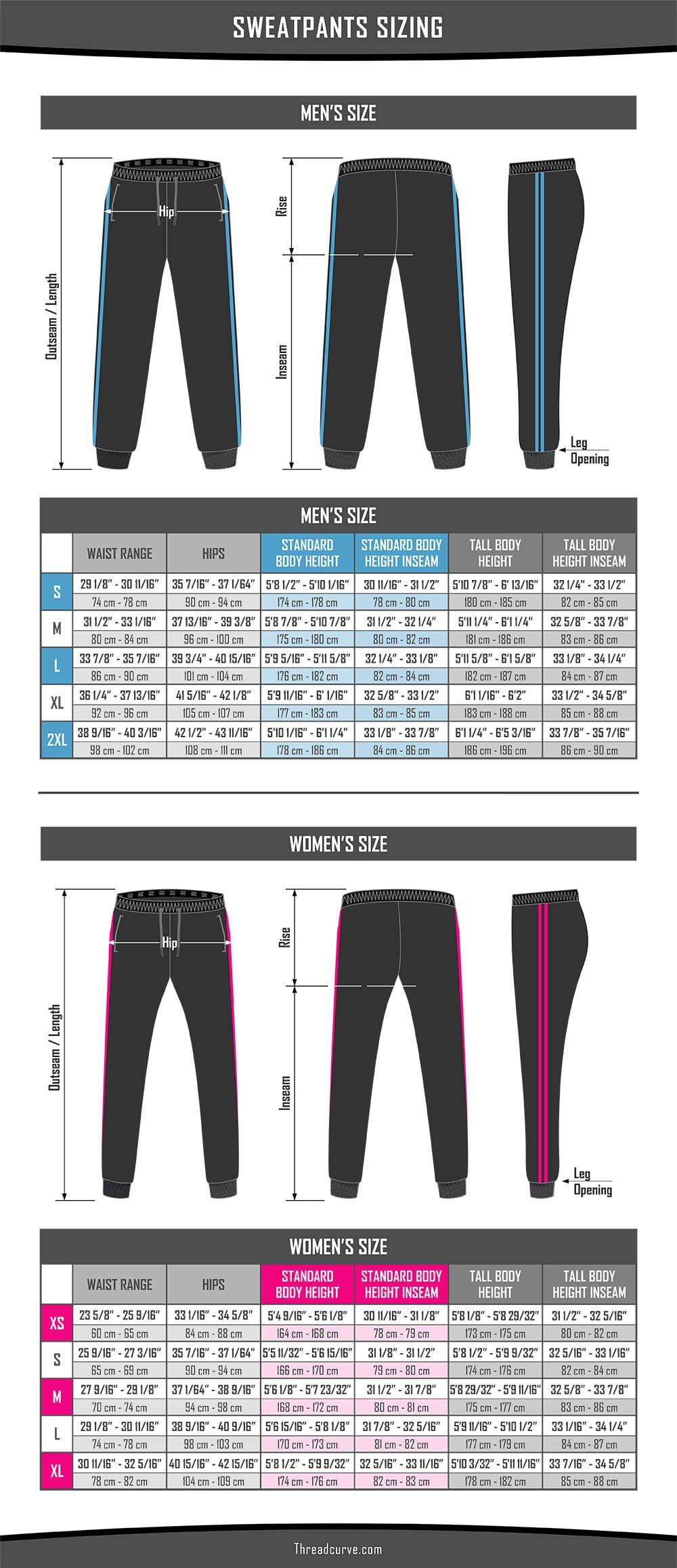 Sweatpants Size Charts