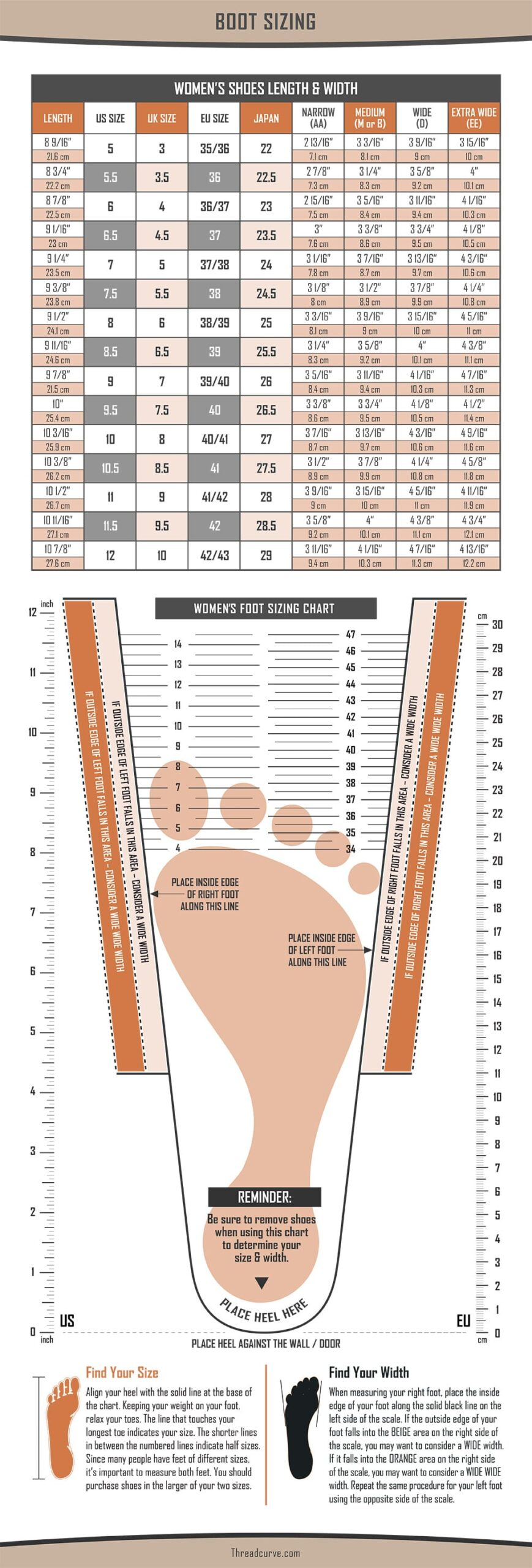 Women's boot size chart with measuring guide